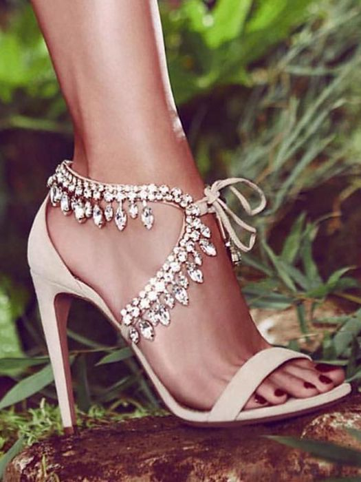 9068d9a38d8381 Jeweled nude sandals    heels with crystal straps