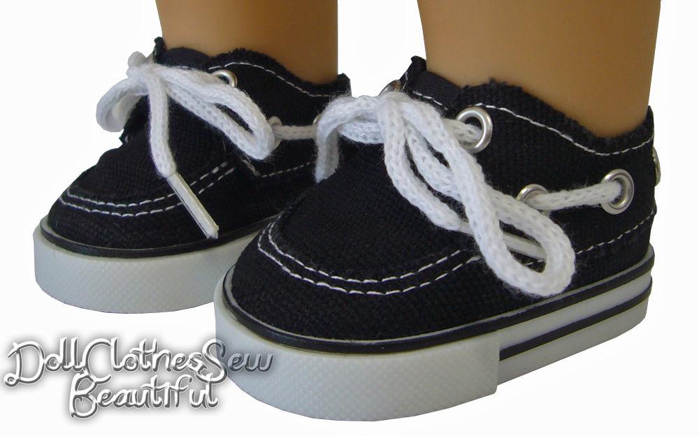 "Boy Doll Logan 18/"" Black Canvas Shoes with Strap Fits American Girl Dolls"