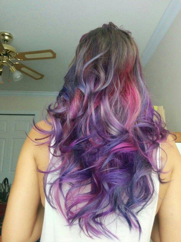 Purple hair. Mermaid hair. Curly hair. Joico. Rainbow hair. Unicorn. Long hair. Olaplex. Ombre. Layers. Trendy