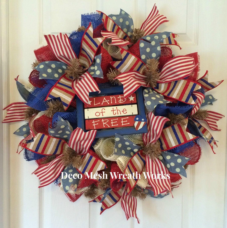 Paper Mesh Patriotic Wreath, Deco Mesh Patriotic Wreath, Americana ...