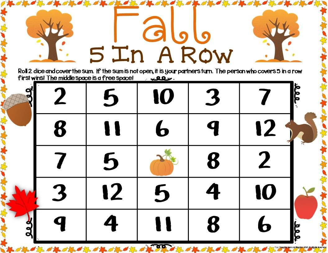 Fall Math Center Dice Games For K 2nd Special Education