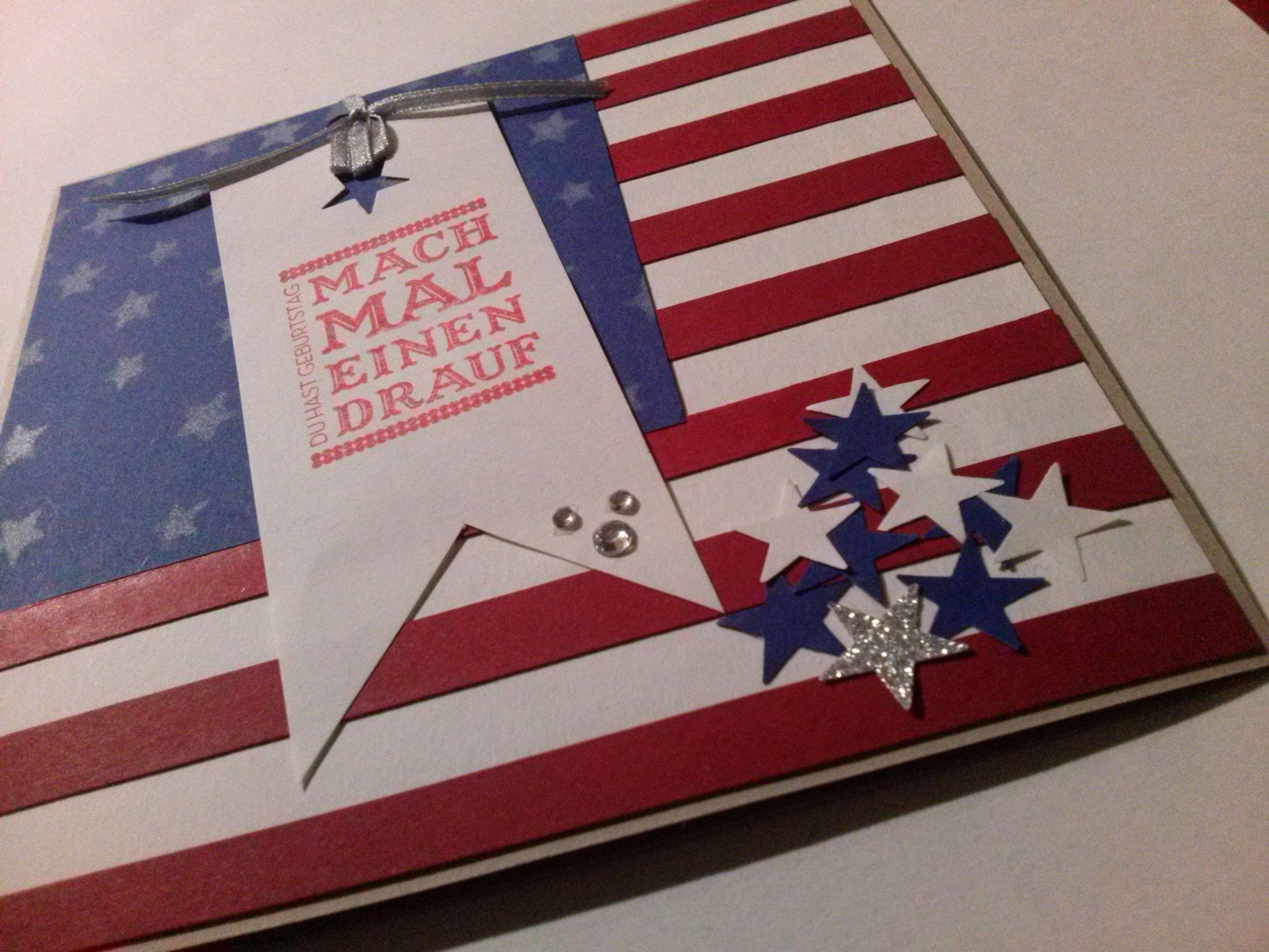 Geburtstagskarte f r usa fan stampinup papierwerk for Pinterest geburtstagskarte