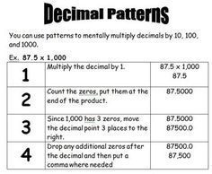 Rules For Multiplying Decimals By 10 100 And 1000 Google Search
