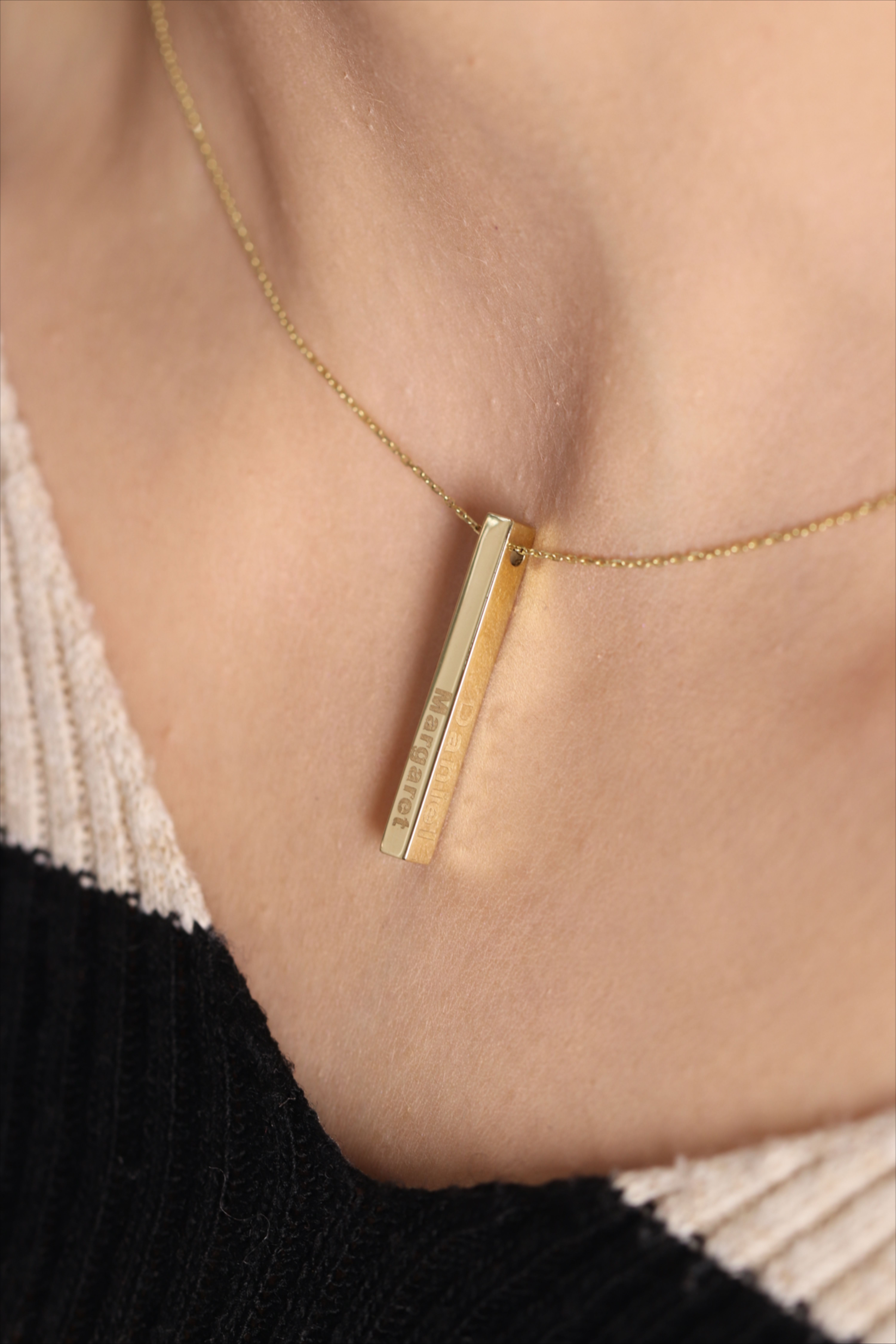 Description 14k Gold 3d Bar Necklace Made To Order Four Sided Bar Charm A Precious With Images Bar Necklace Personalized Bar Necklace Engraved Bar Necklace