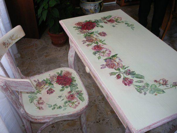 Sedie Decoupage ~ Scrittoio e sedia con tecnica shabby e rose il mio decoupage