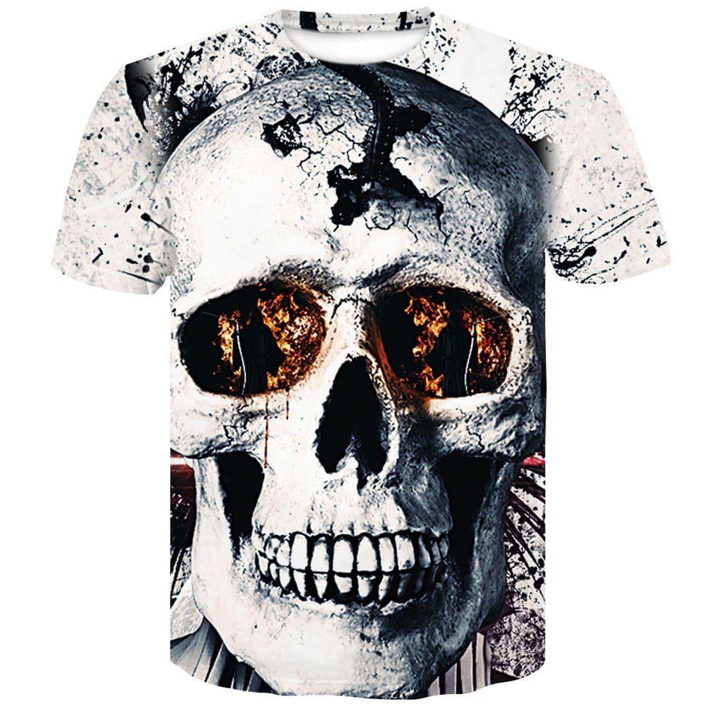 Short Sleeve Men's Stamp 3D Yellow Eyes Skull T-Shirt - BLACK XL