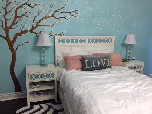 Breezy Tree Wall Decal And Bird Stickers In White And Wood Grain - How to put up a tree wall decal
