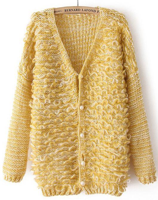 Yellow V Neck Long Sleeve Shaggy Cardigan US$31.64