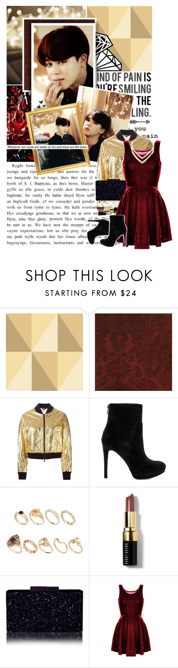"""""""Gold and Red...perfect combination"""" by glitterlovergurl ❤ liked on Polyvore featuring Love Quotes Scarves, Cole & Son, Andrew Martin, DKNY, Sam Edelman, ASOS and Bobbi Brown Cosmetics"""