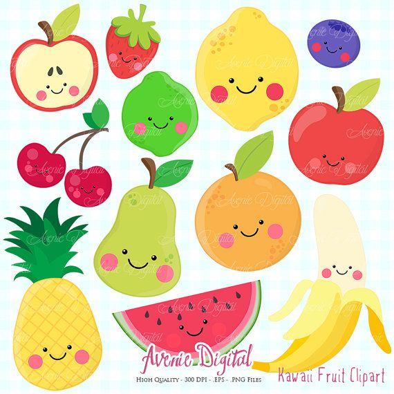 Clipart Fruit Kawaii Scrapbooking Digital Art Vectoriel Eps Et Png Des Aliments Sains Clip Ensemble Orange De Cerise Ananas Banane Pomme Citron Kawaii Fruits Kawaii Et Clipart