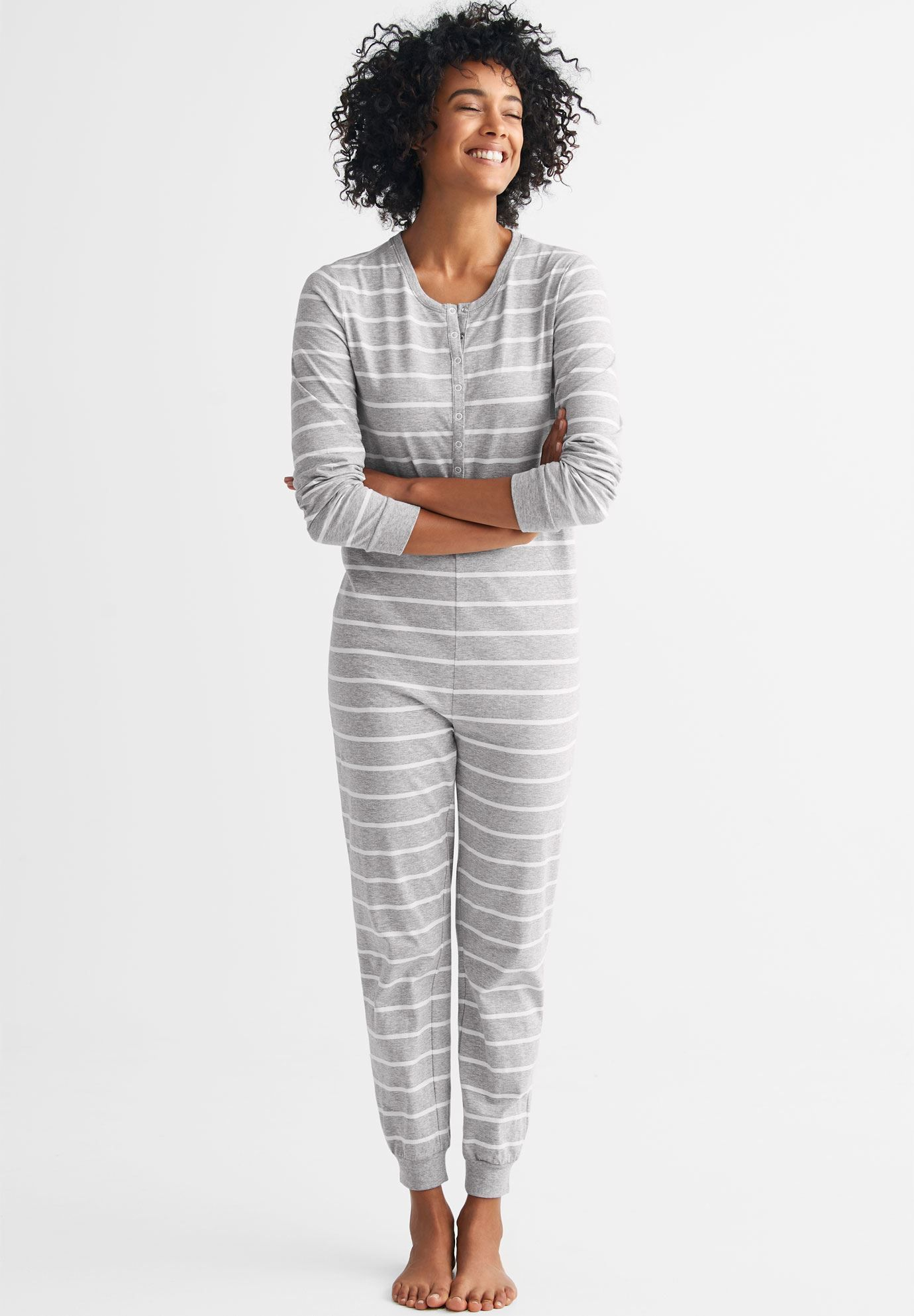 Henley One-piece Pajamas by ellos® ac36b63ad
