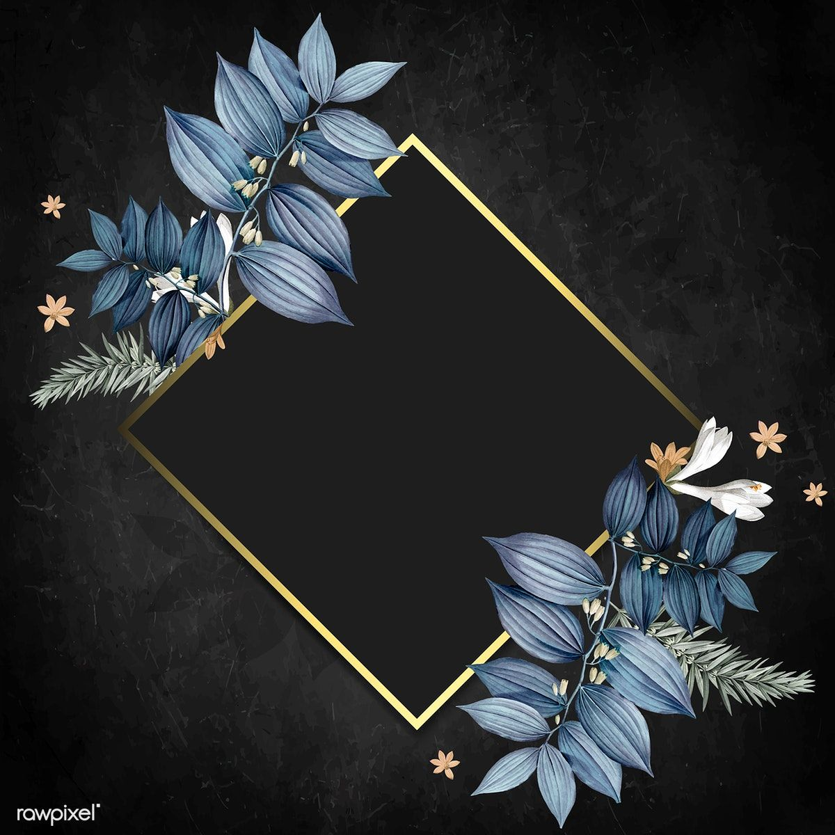 Download Premium Vector Of Rhombus Foliage Frame On Black Background Black Background Painting Flowers Black Background Flower Background Wallpaper