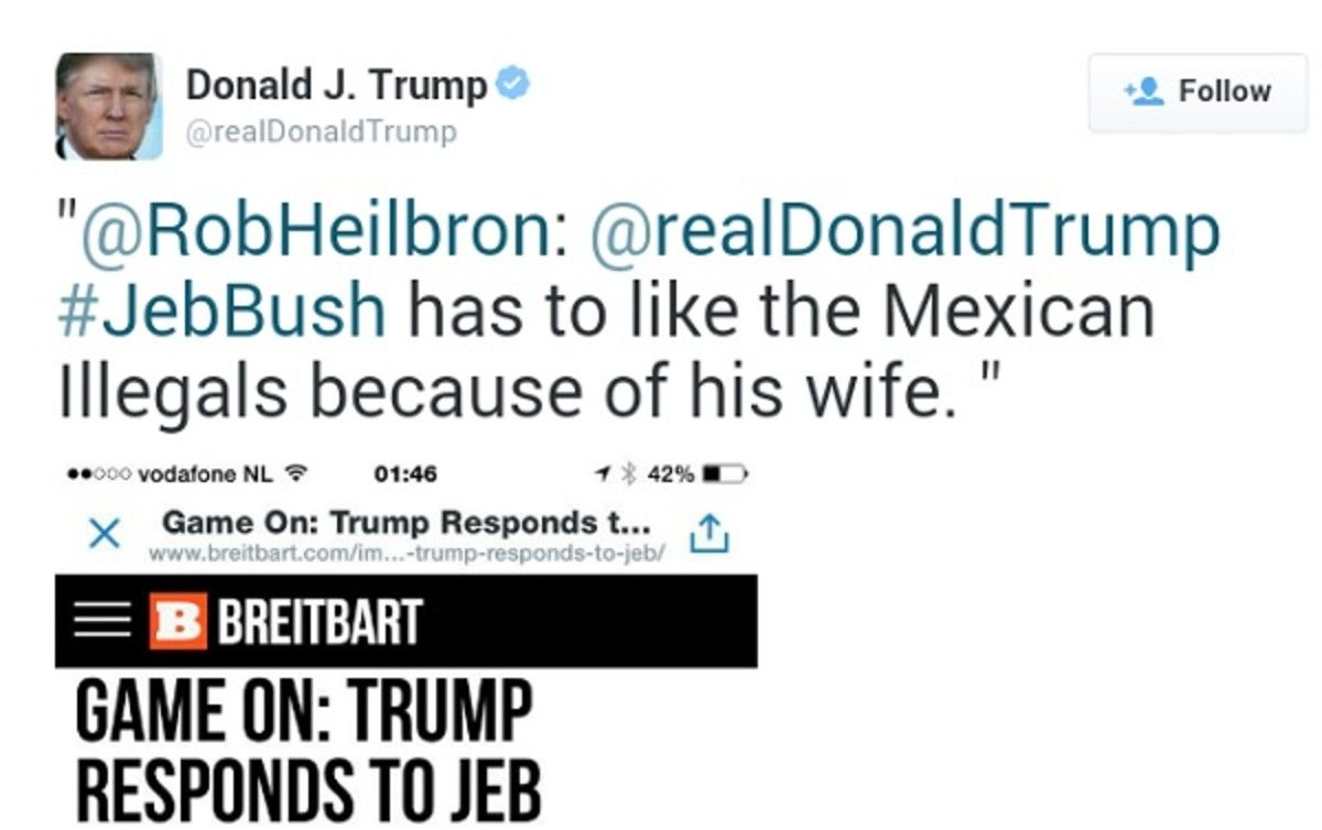 Jeb Bush Has To Like The Mexican Illegals Because Of His Wife This Was One Of His Controversial Tweets And Ridiculous Quotes Trump Quotes Good Good Father