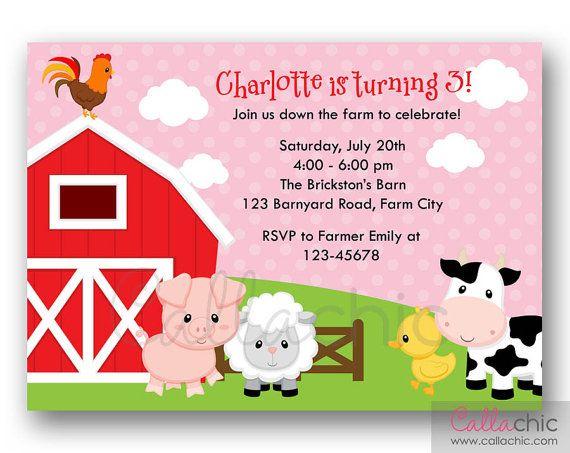Farm Animal Birthday Invitation Printable Template Girl
