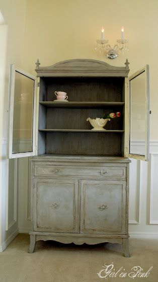 Delightful Cupboard Makeover   Paris Grey Over Old White With Clear U0026 Dark Wax