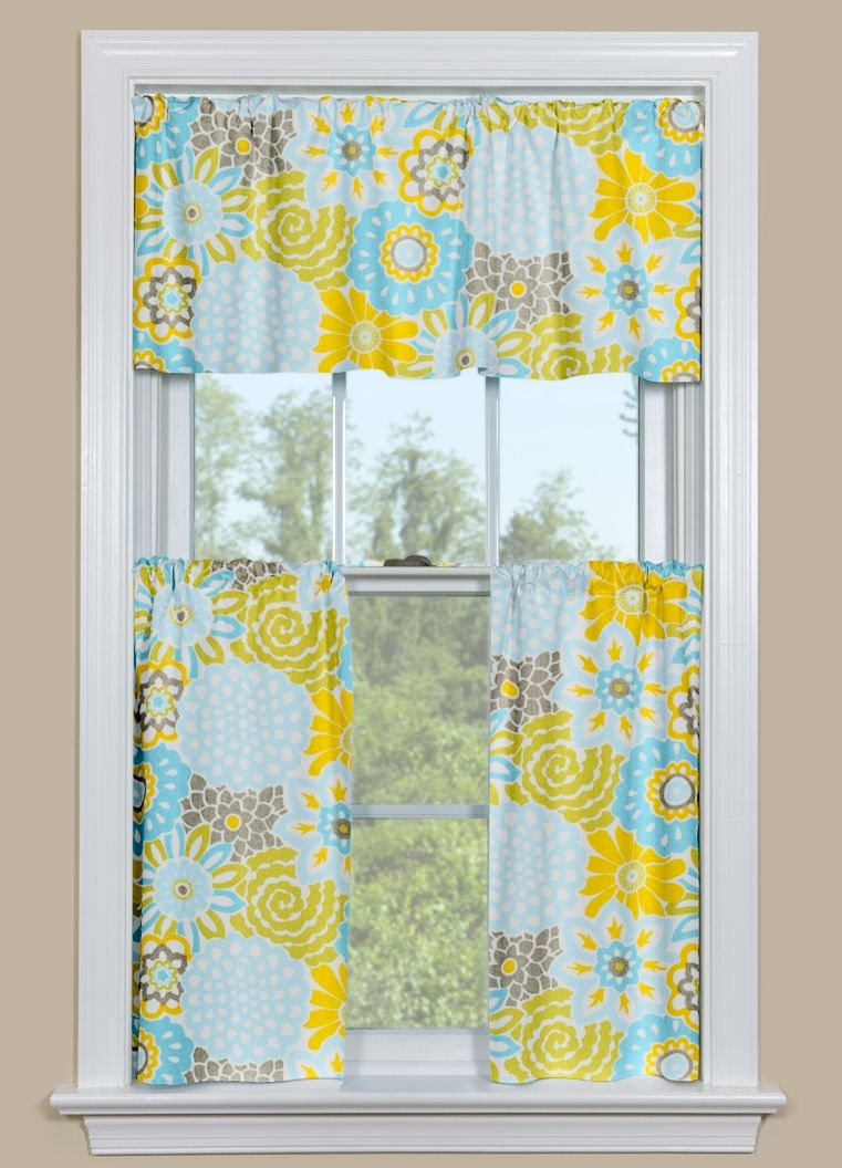 Kitchen Window Curtain With Floral Design In Blue Yellow And Grey