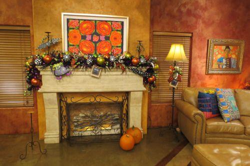 Halloween Garland, Halloween Mantle, Halloween Decorations, Black - halloween decoration ideas home