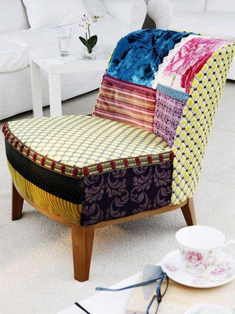 tapizar una butaca combinando telas diferentes