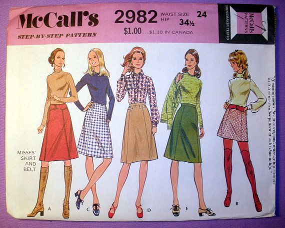 Womens 70s Mini Skirt Sewing Pattern Or Knee Length With Belt
