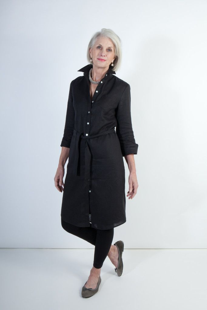 Black Italian Linen Shirtdress By Ollie  Max Lovely To -2284