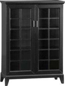 Black Media Storage Cabinet Gl Doors
