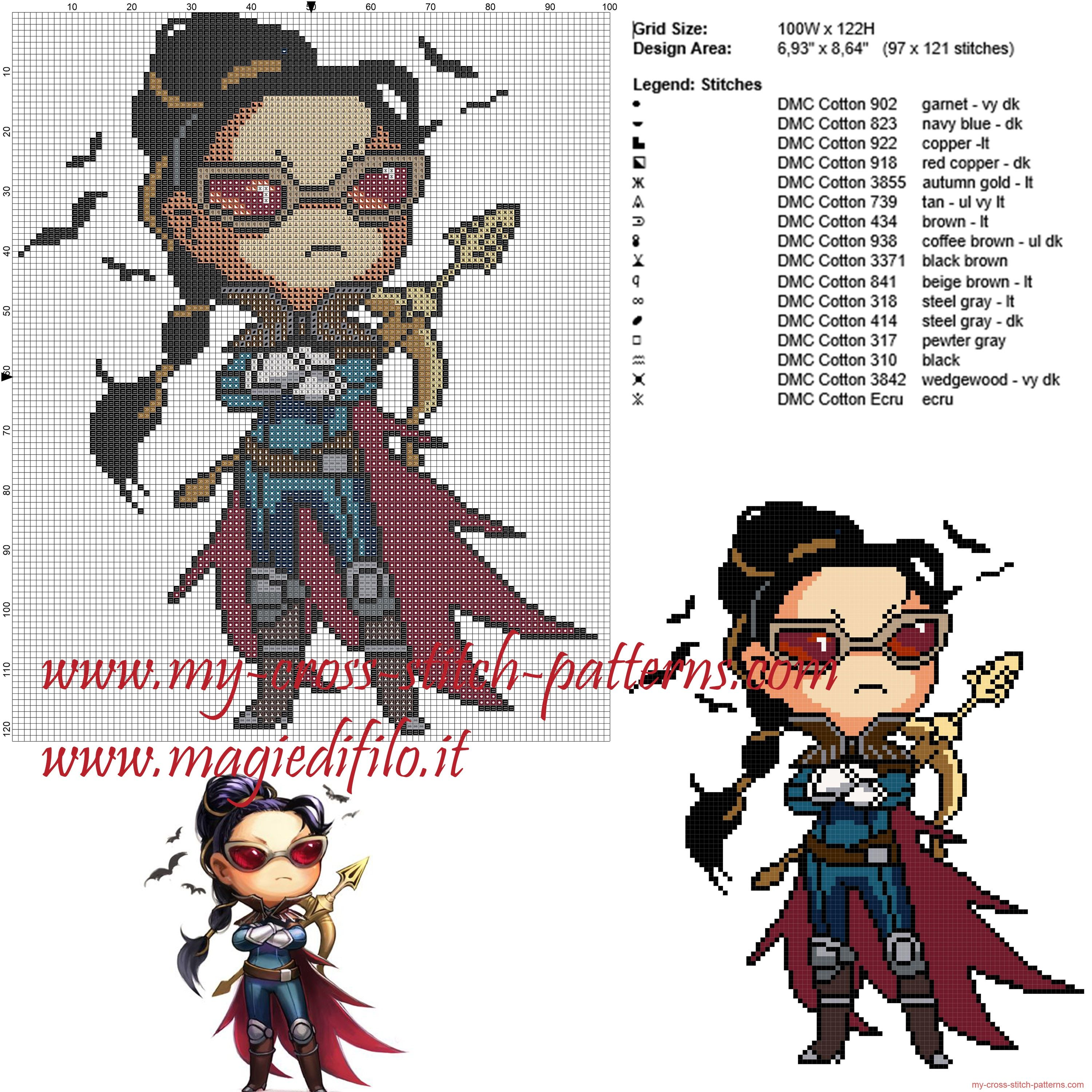 Vayne chibi (League Of Legends) patrón punto de cruz | Superheroes ...