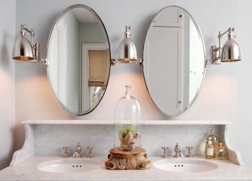 Graceful Curves. Oval Mirrors. Marble. Maybe Different Lights Or One Less