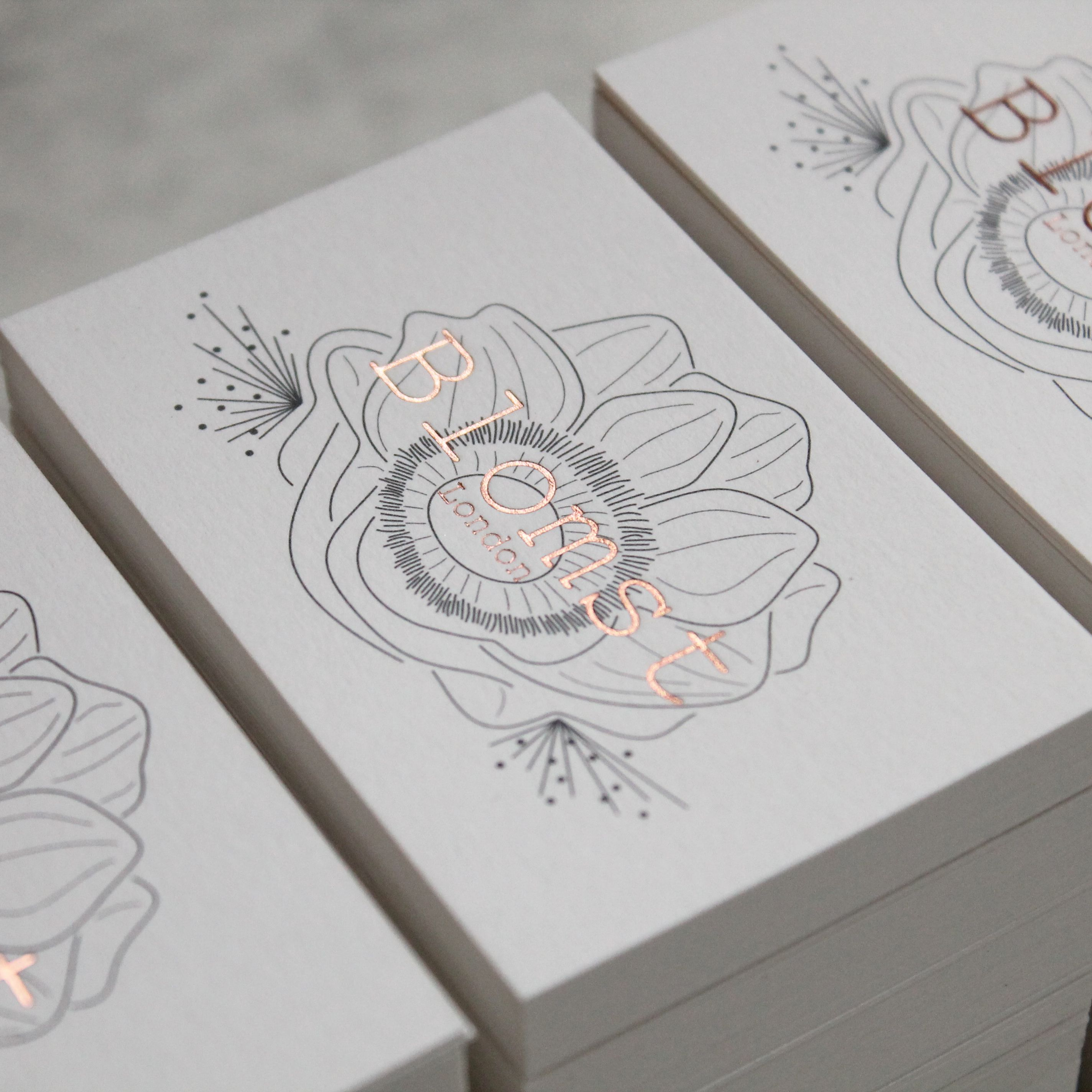 Grey litho to rose gold letterpress business cards … | Pinteres…