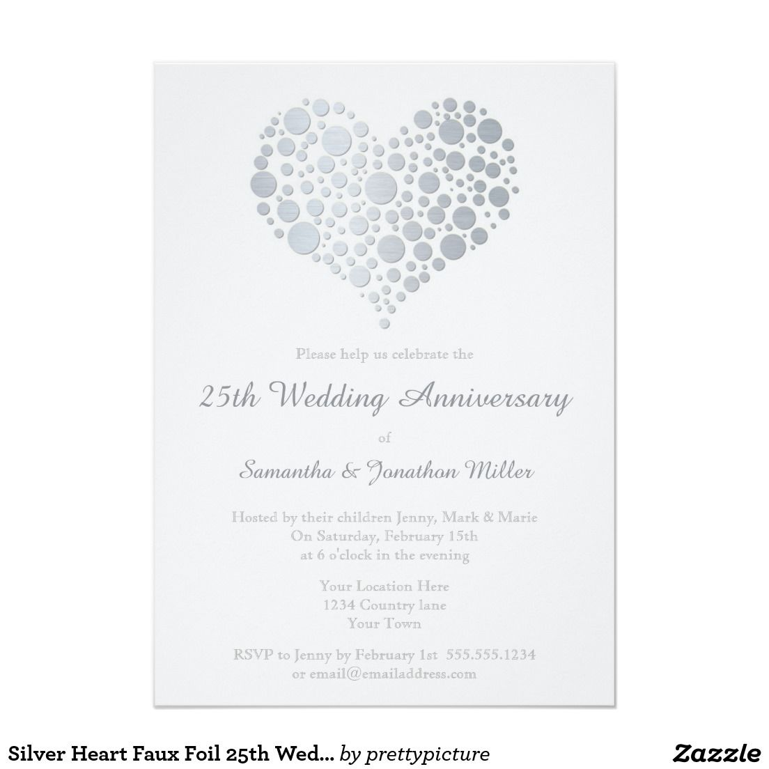 Silver Heart Faux Foil 25th Wedding Anniversary Card | 25 wedding ...