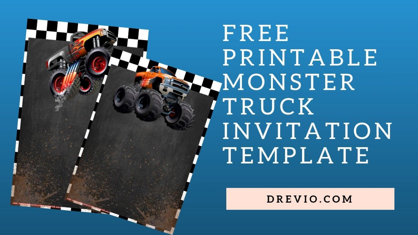 image relating to Monster Truck Birthday Invitations Free Printable called Cost-free Printable Monster Truck Invitation Templates No cost