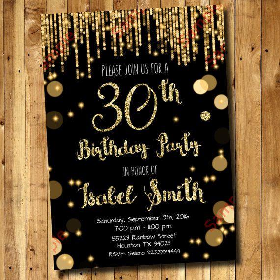 30th Birthday Invitation Gold Glitter By DigitAllParty