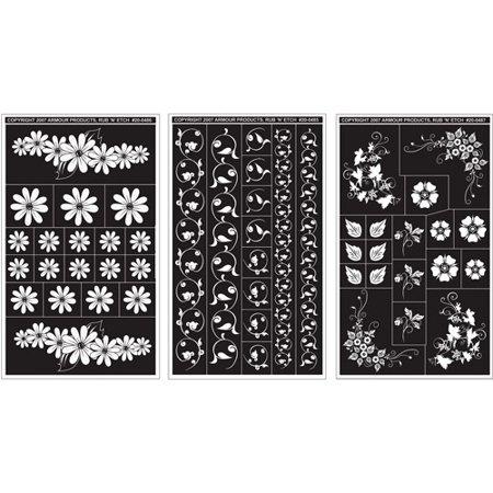 Rub 'N' Etch Designer Stencils 5 inch x 8 inch, 3/Pkg