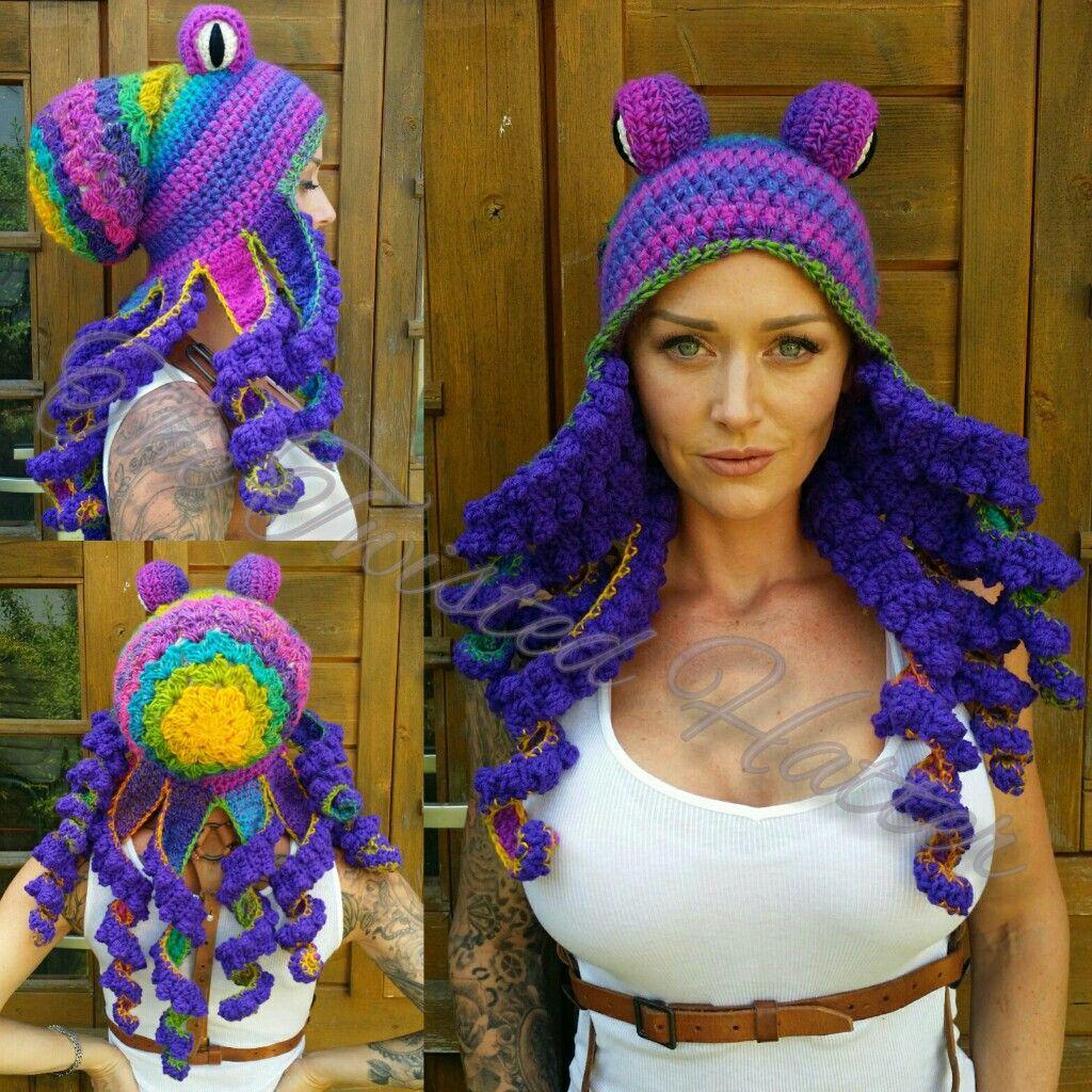 Crochet multi coloured octopus hat