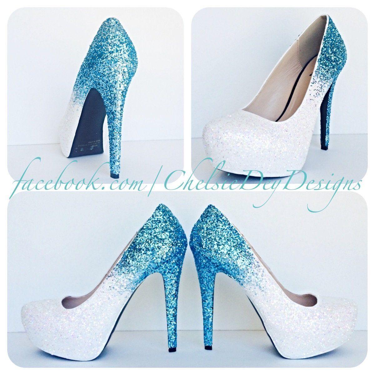 Ombre glitter high heels aqua white wedding shoes glitterheels