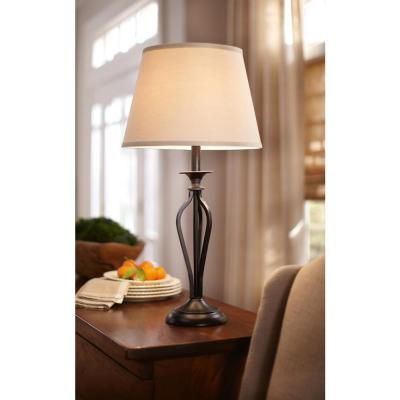Hampton Bay Rhodes 28 In Bronze Table Lamp Hd09999tlbrzc The Home Depot Bronze Table Lamp Table Lamp Lamp