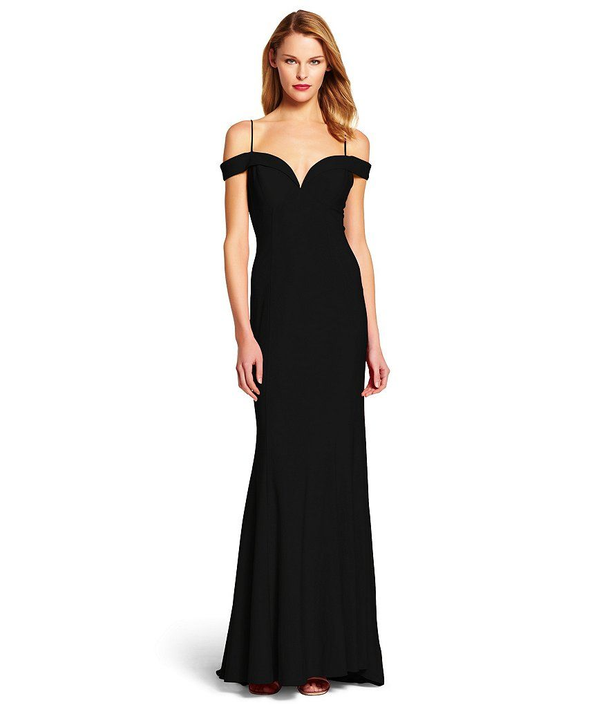 Adrianna papell cold shoulder mermaid gown mermaid gown for Adrianna papell wedding guest dresses