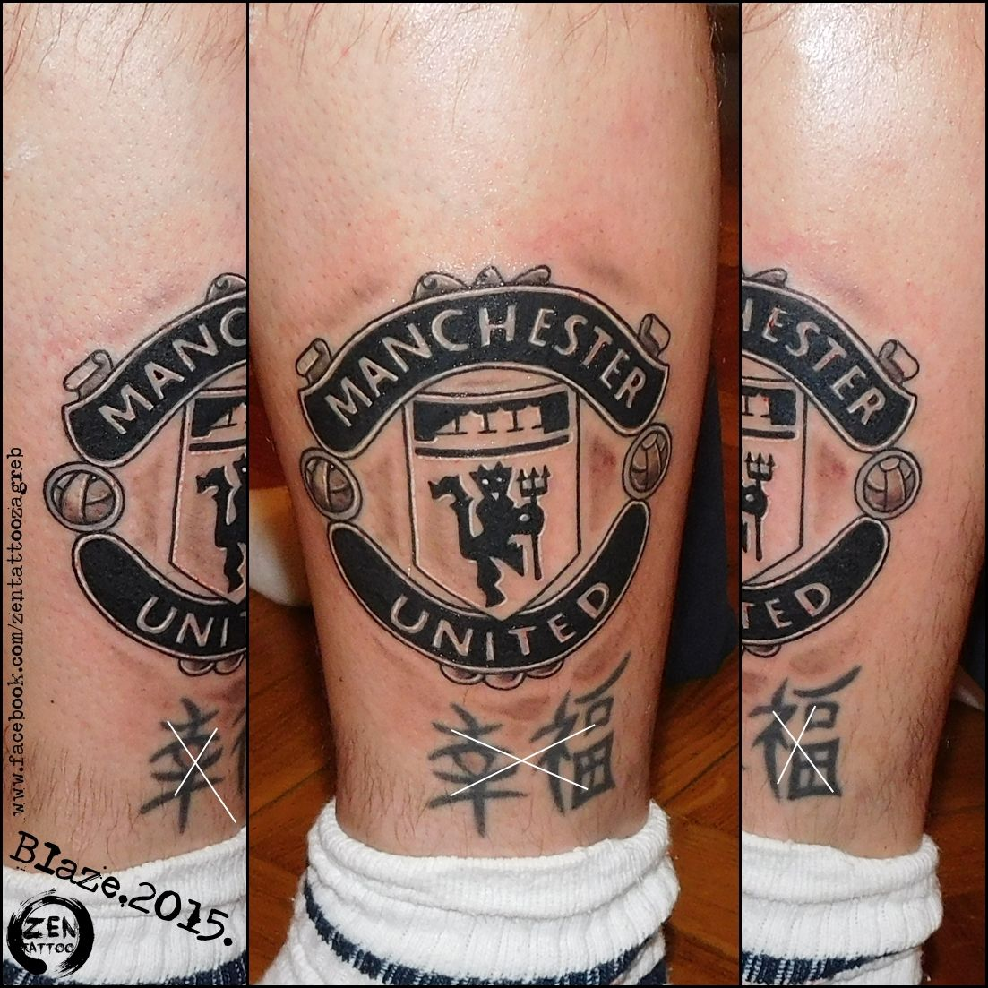 Manchester United Logo Tattoo By Blaze Www Facebook Com Zentattoozagreb Watch Tattoo Design Black And Grey Tattoos Man Utd Tattoo