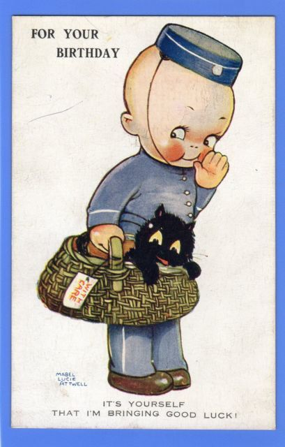 POSTCARD MABEL LUCIE ATTWELL BIRTHDAY GREETINGS CHILD BOY UNIFORM BLACK CAT | eBay