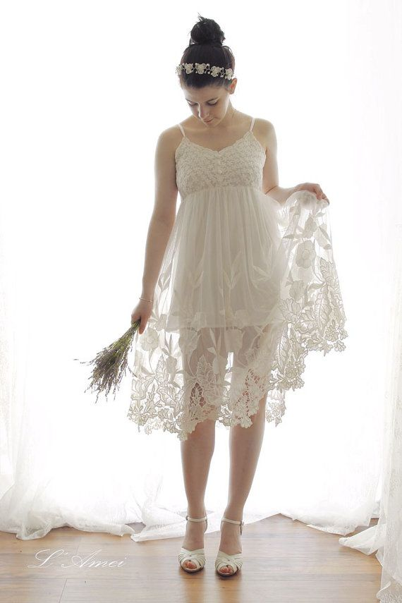 Short and simple  Alice in the Garden Ivory White Lace Wedding Dress Perfect for Beach or Garden Wedding - AM1981680
