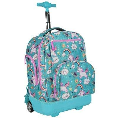 Kids Blue Treasureland Unicorn Theme Rolling Backpack Star Hearts Suitcase Girls School Duffel Wh Girls Rolling Backpack Rolling Backpack Kids Rolling Backpack