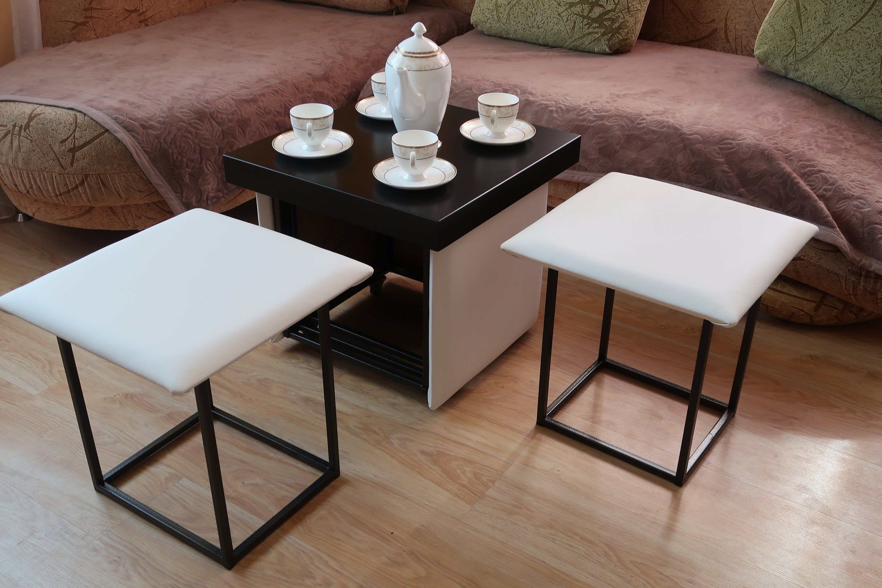 Cube 7 In 1 Transformer Ottoman Coffee Table Or 5 Chair