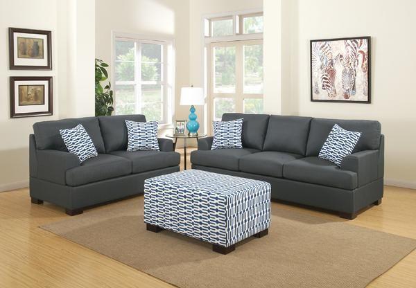 Hayward Sofa And Loveseat Set In Slate Black Polyfiber Linen Fabric Sofa And Loveseat Set Black Living Room Black Furniture Living Room