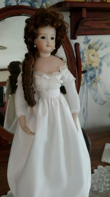 French Fashion Reproduction Doll, Bisque Swivel - FG 4 with Trousseau and Trunk!