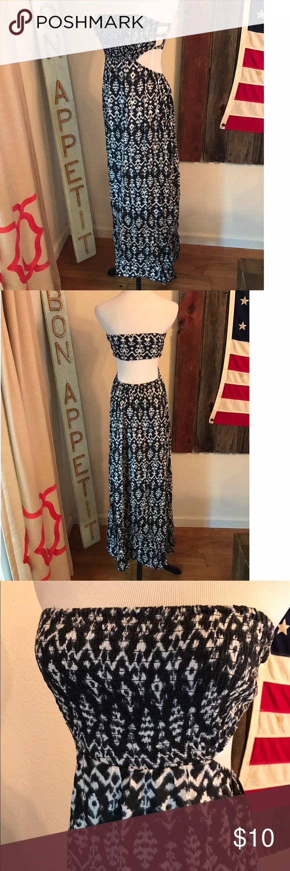 Forever 21 Strapless Cut out Dress Navy & White Ikat Print Strapless Maxi. Smocked front and cut sides/bag. Side slit on right. Flattering & comfy. Worn once, great condition.. Forever 21 Dresses Maxi