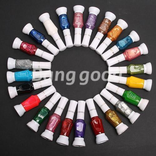 24 Colors Mix Colors Pure Glitter 2 Way Varnish Nail Art Tips Brush Pen Polish