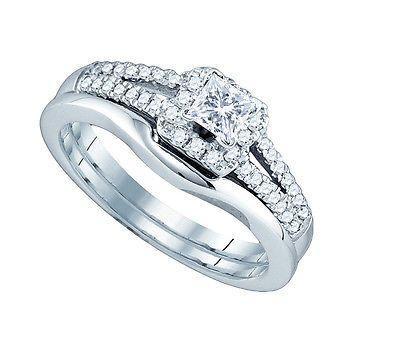 Diamonds and Gemstones 14K White Gold Princess Diamond Halo