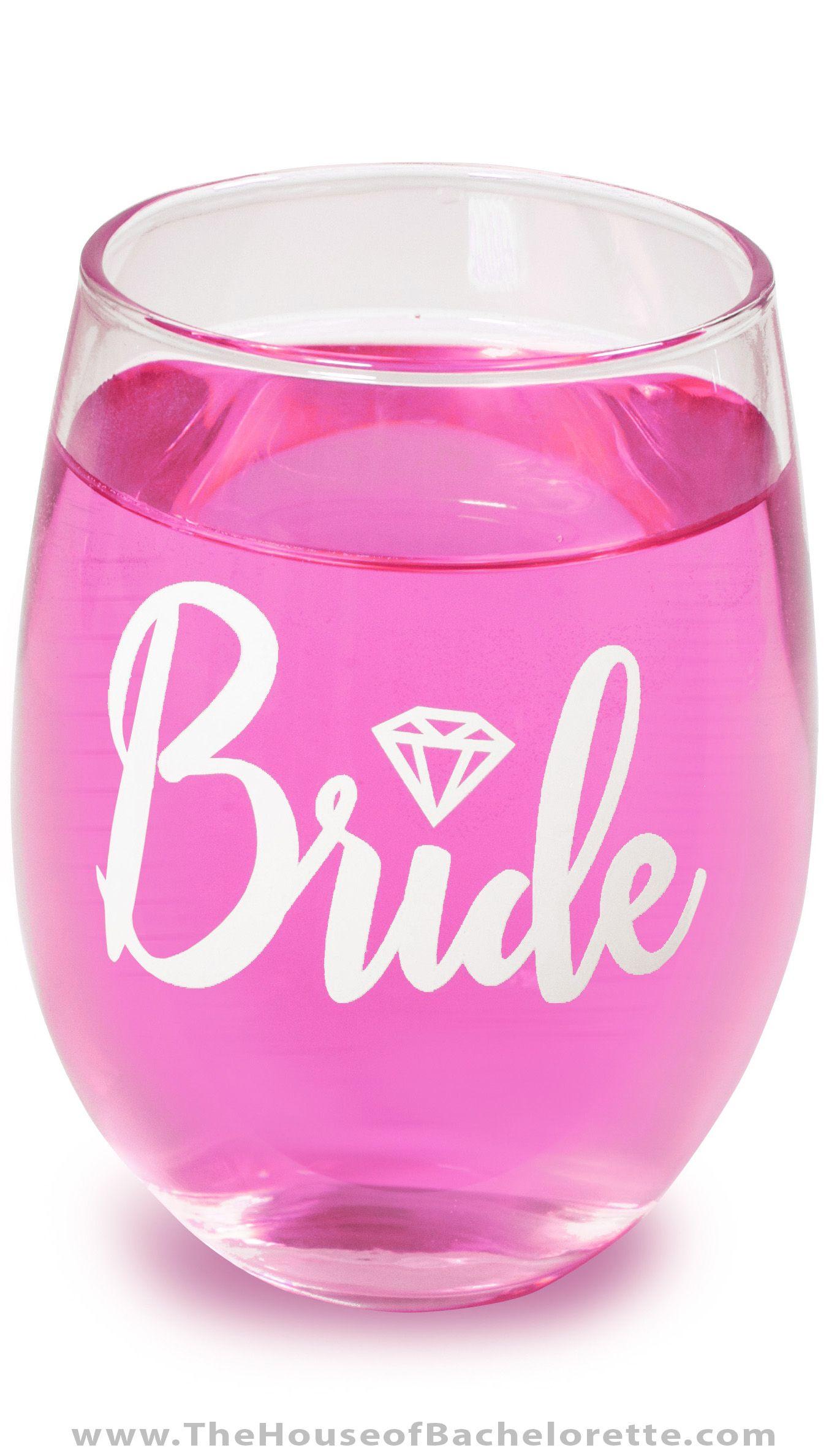 Bride w/Diamond Stemless Wine Glass | Destination bachelorette party ...