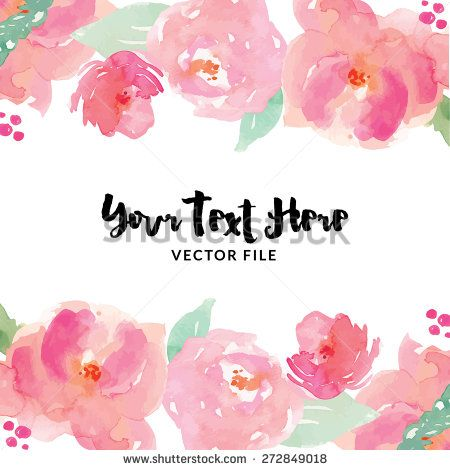 Watercolor Flower Vector Border Stock Vector Watercolor Flower