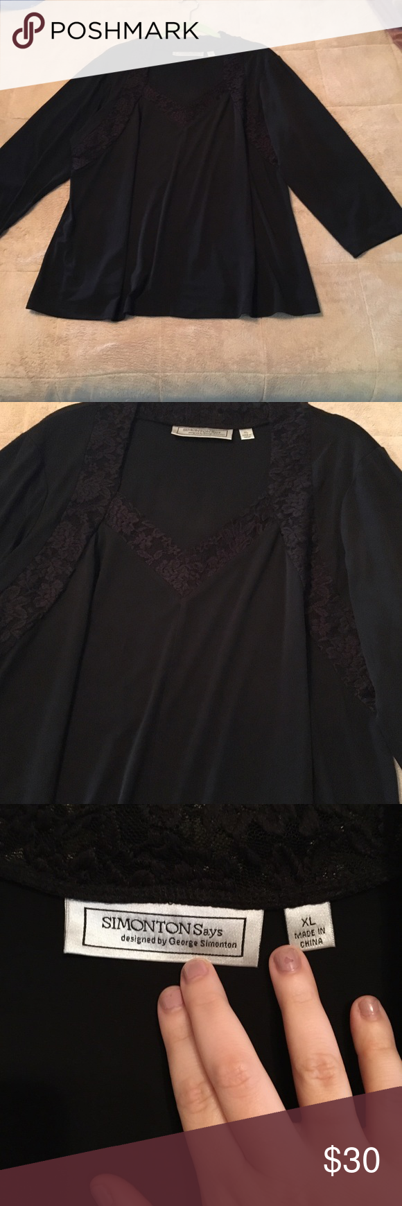 Simonton Says black lace detail top George Simonton black top has lace outlining detail around the neckline. Only worn once, excellent condition! George Simonton Tops
