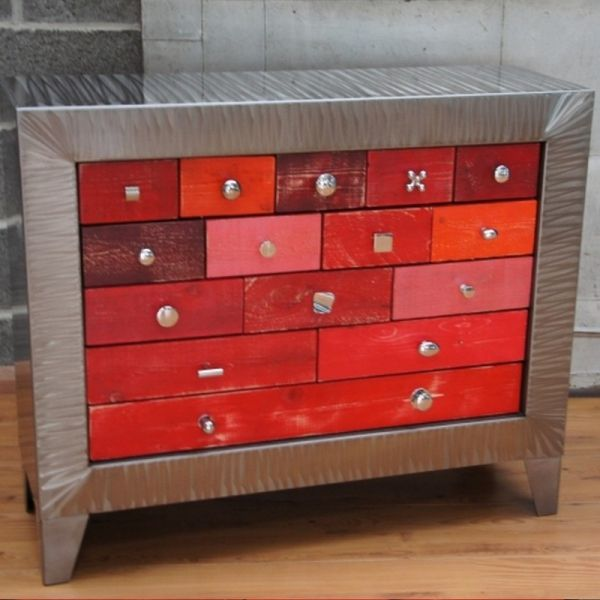 Meuble métallique commode Consoles - meuble de rangement avec tiroir